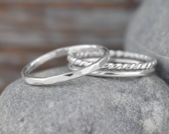 sterling silver stacking rings - handcrafted solid sterling silver