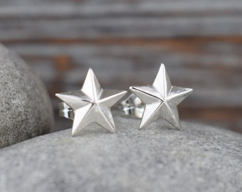 star stud earrings - solid sterling silver hypoallergenic posts, gift for her girl daughter sister best friend stocking stuffer