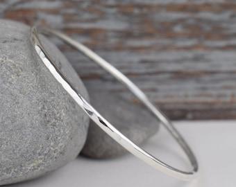 sterling silver bangle bracelet, skinny hammered stacking bangle, handcrafted minimalist simple everyday bracelet gift for her wife mom girl