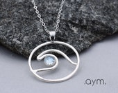 wave pendant, blue topaz sterling silver wave pendant necklace, ocean beach surfer wave necklace, gift for her girlfriend sister wife mom