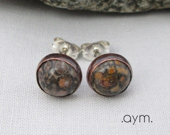 a350a806c leopardskin jasper stud earrings