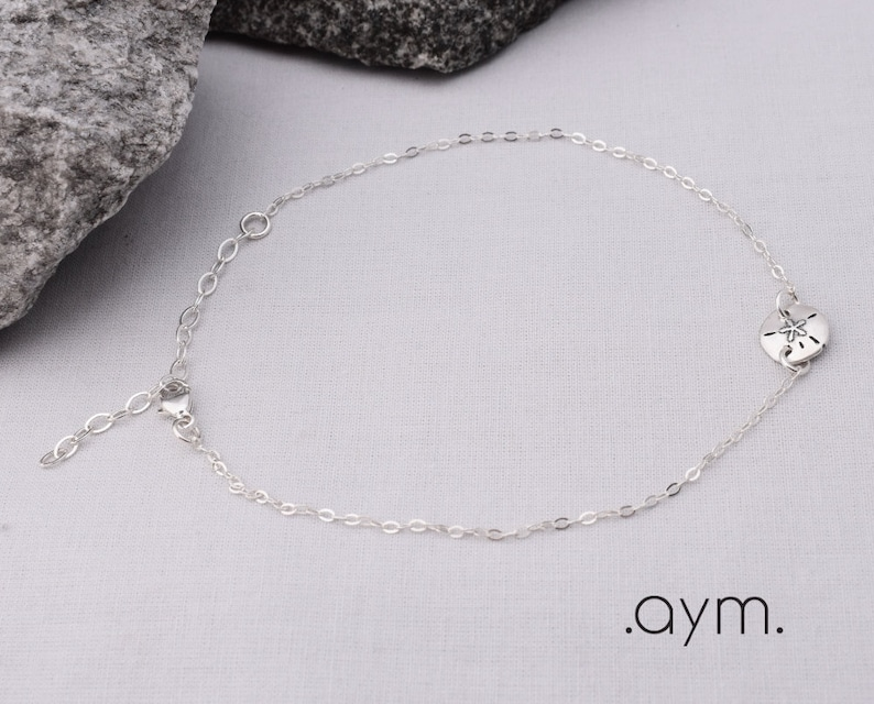 mermaid gift for her girl daughter sister summer beach jewelry adjustable simple dainty ankle bracelet sand dollar sterling silver anklet