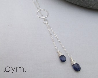 sterling silver lariat necklace, wire wrapped blue iolite gemstone necklace, dainty, minimalist, gift for her, wife gift, girlfriend gift