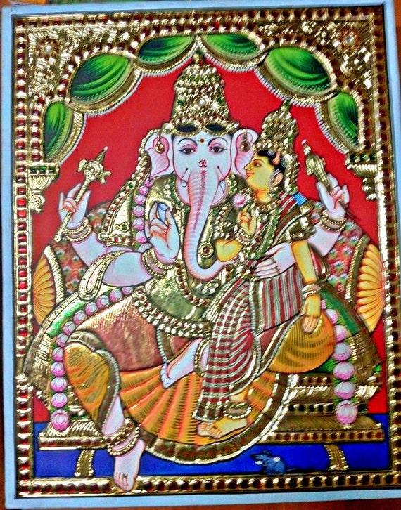 Medium Tanjore painting of Valabha Ganapathi