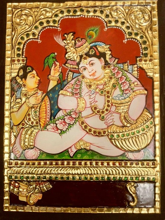 Large Tanjore painting of Baby Krishna(Butter Krishna)