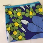 Retro Bold Flower Painted Print Coin Purse | Zipper Purse | Small Bag | Pouche | Small Cosmetic Bag | Secret Santa Gift | Stocking Filler