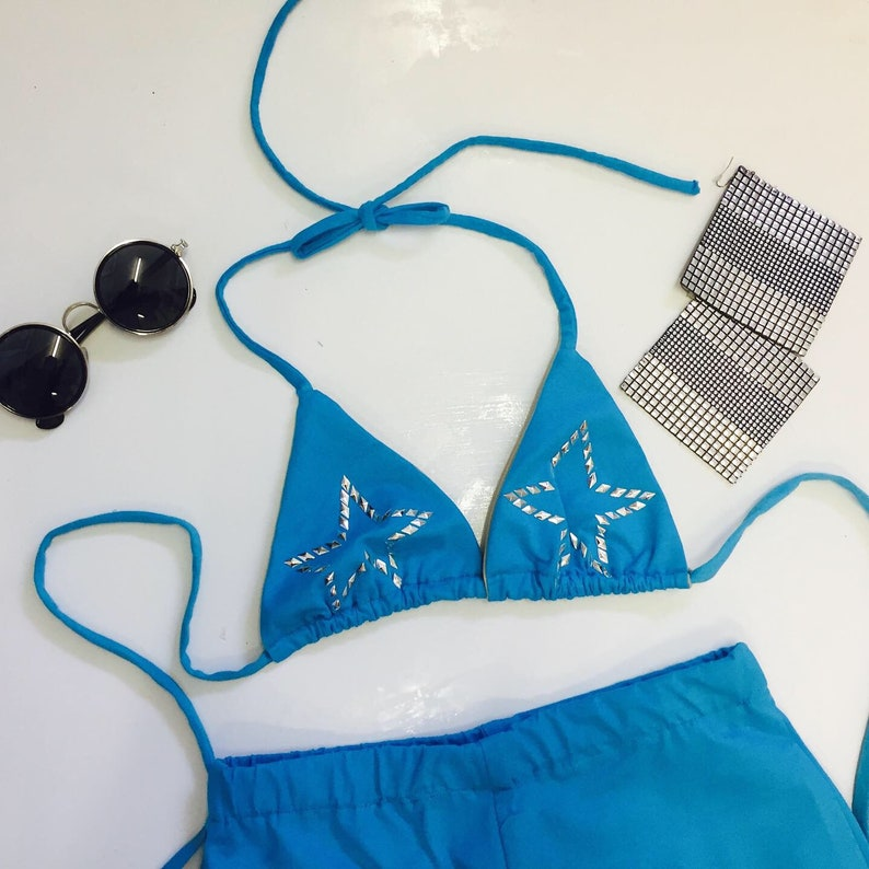 Blue Festival Set  Bikini Top with Bellbottom Flares and image 0