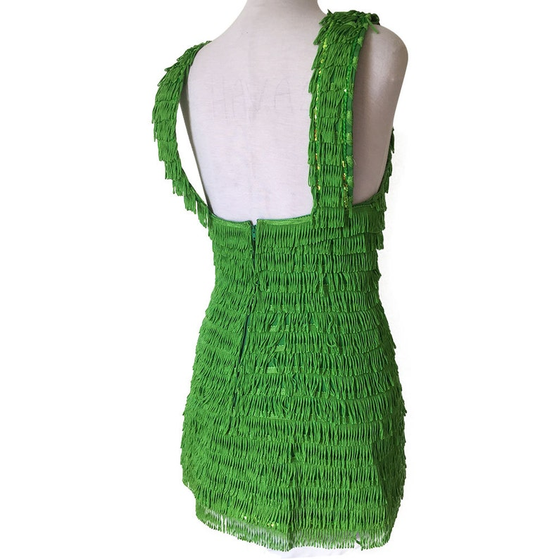 Funky Retro Lime Green Fringed Mini Flapper Dress Overall with Pink Plastic Star and buttons