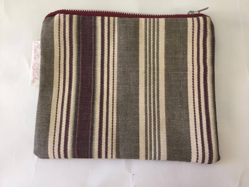Striped Maroone Khaki Coin Purse  Zipper Purse  Small Bag  image 0