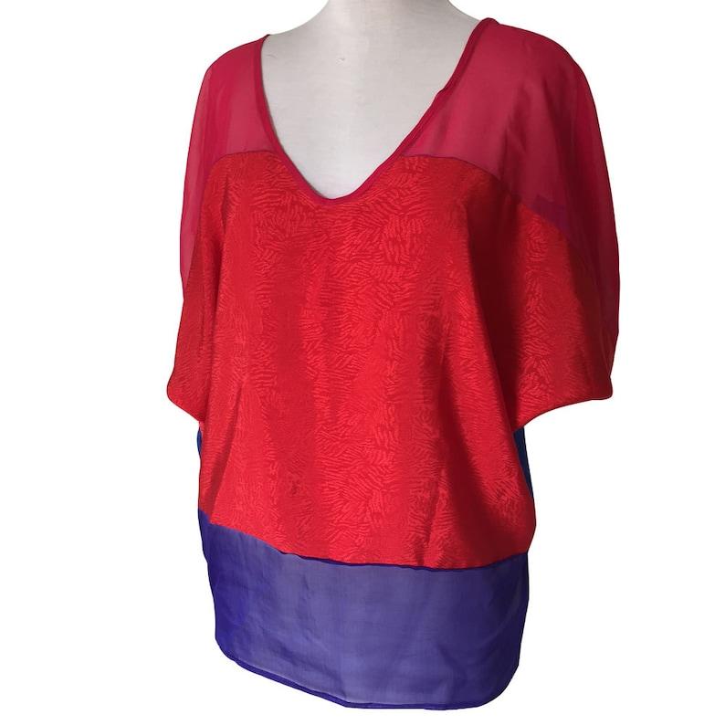 Bold Red Blue Purple Chiffon and Tafetta Top image 0
