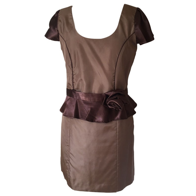 Hand made brown satin cocktail dress with peplem waist band and rosette