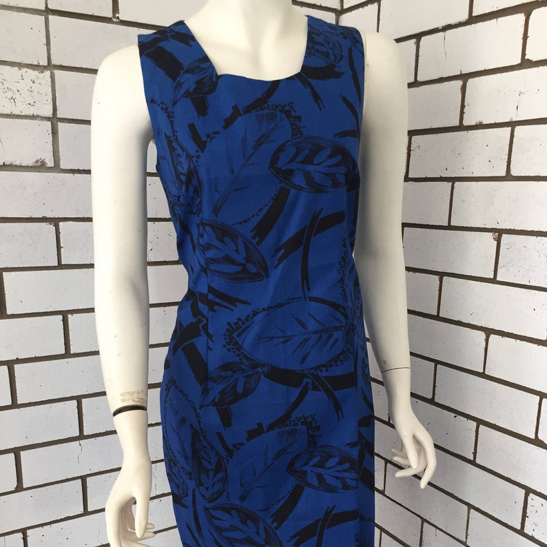 Sleeveless Navy Blue Retro 80's Floral Printed Shift image 0