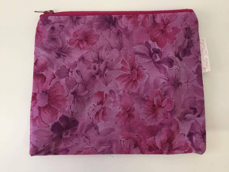 Purple Floral Print Linen Cotton Coin Purse  Zipper Purse  image 0
