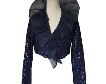 Midnight blue sequined jacket with organza frilled neck stand up collar