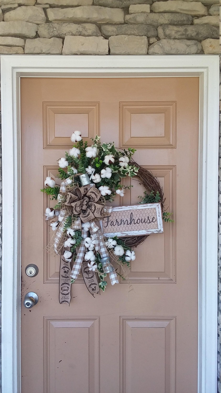Spring Farmhouse Front Door Wreath Wreath For Front Door Cotton