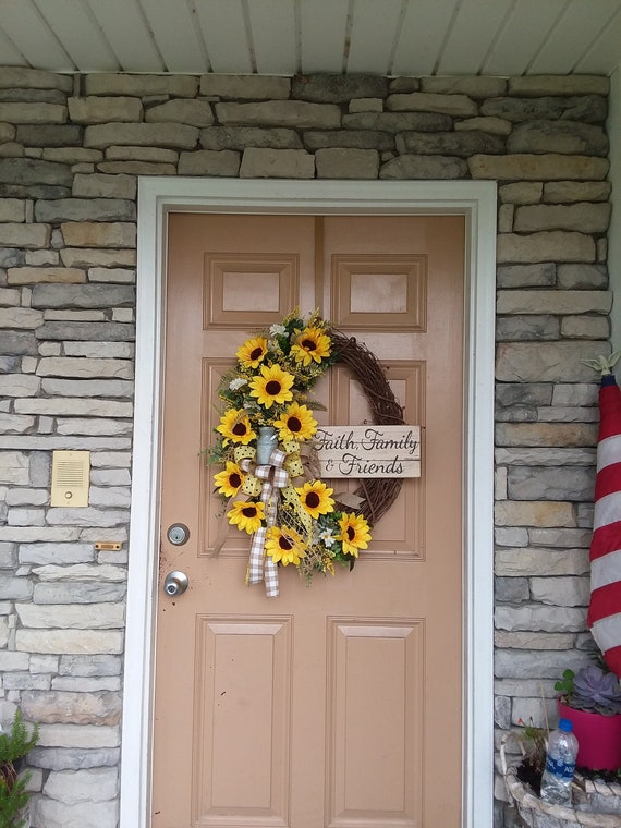 Sunflower Farmhouse Wreath For Front Door Large Fall Front Etsy