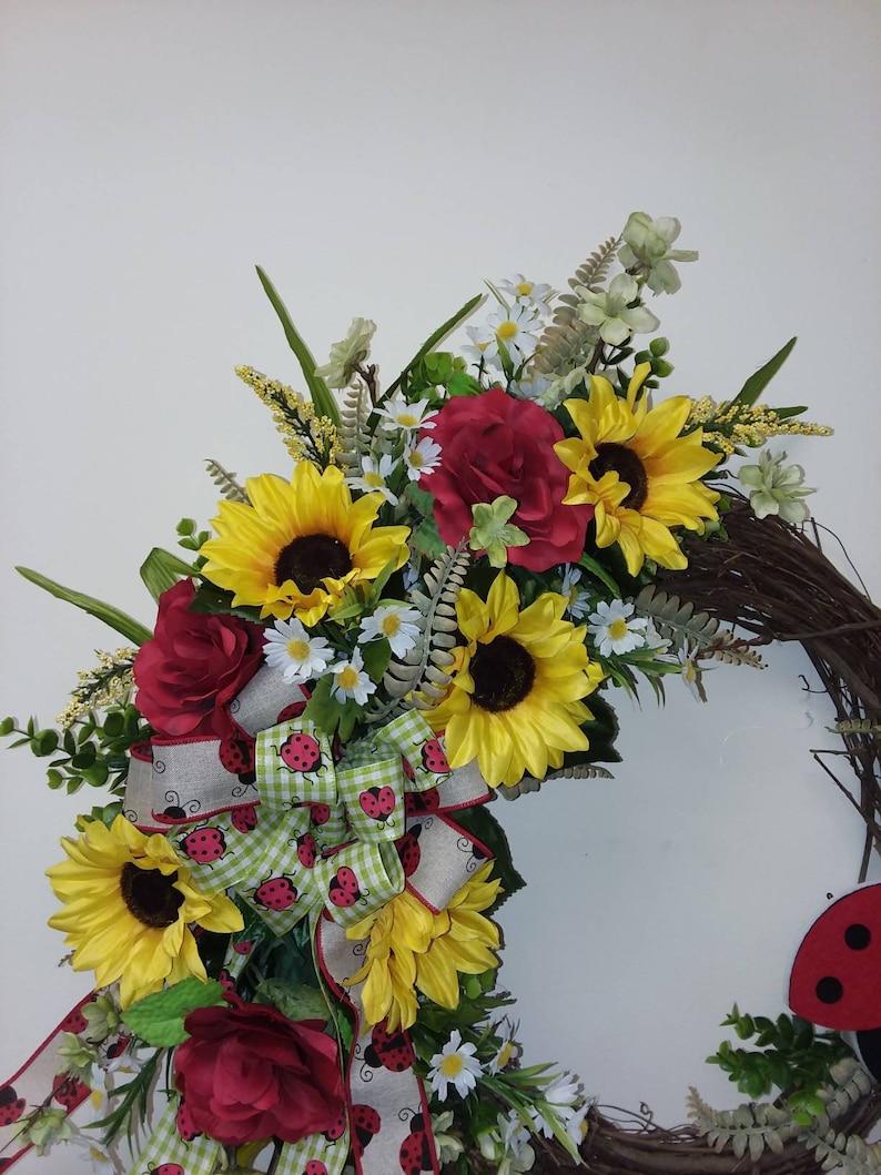 Ladybug Sunflower Front Door Wreath~  Spring Front Door Wreath ~ Summer Ladybug Wreath ~Sunflower Wreath~ Sunflower Front Door Wreath