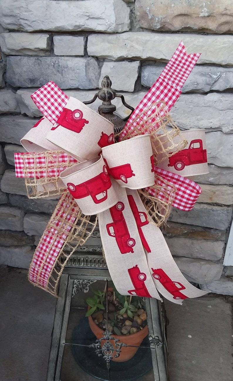 Farmhouse Wreath Bow~Country Farmhouse Bow ~Red Truck Country Bow~ Country home Decor ~Country Basket Bow Farmhouse Burlap lantern Bow