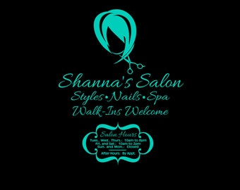 Salon Graphic with Name and Hours in Vinyl