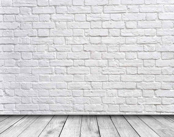 White Gray Brick Wall Wood Floor Photography Studio Backdrop Etsy