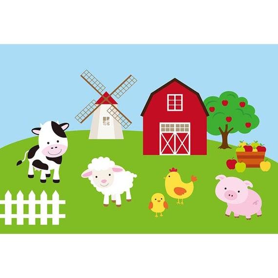 Cartoon Red Barn Farm Animals Barnyard Birthday Photography Studio Backdrop Background