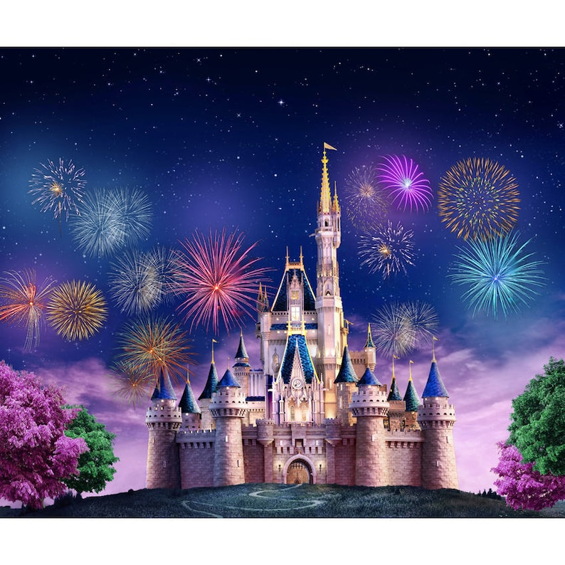 Vinyl Fairy Tale Castle Night Tower Fireworks Photography image 0
