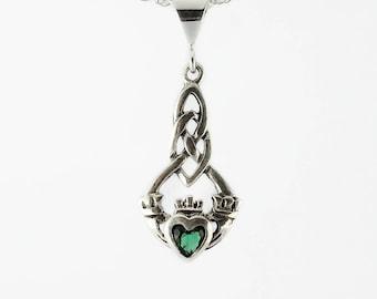 Celtic Necklace~Emerald Green Claddagh Necklace~Sterling Silver Emerald Claddagh Necklace~May Birthstone~Birthstone Jewelry