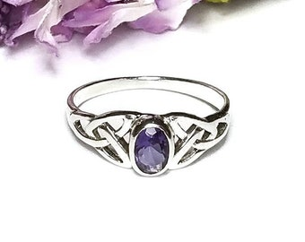 Amethyst Ring~Silver Celtic Natural Amethyst Ring~Amethyst Celtic Trinity Knot Ring~Knotted Ring~February Birthstone Jewelry~Girlfriend Gift