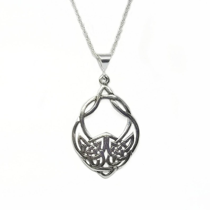 Wolf NecklaceSilver Celtic Wolf NecklaceTribal Wolf image 0