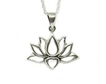 Lotus Necklace~Silver Blooming Lotus Pendant~Water Lily Necklace~Lotus Flower Jewelry~Yoga Necklace~Meditation Jewelry~Gift for Bridesmaid