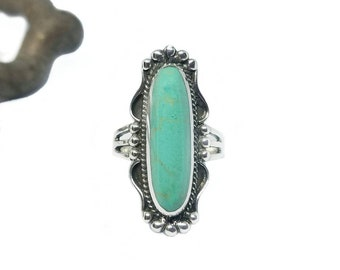Turquoise Ring~Natural Turquoise Silver Ring~Turquoise Long Oval Ring~Large Turquoise Statement Ring~Turquoise Jewelry~Gift for Her