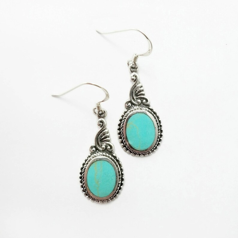 Turquoise Earrings~Silver Natural Turquoise Earrings~Turquoise Art Nouveau Earrings~Turquoise Stone Jewelry~December Birthstone~Gift for Her