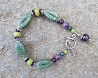 Aventurine bracelet, amethyst bracelet, olive jade bracelet, silver bracelet, sterling jewelry, Bali sterling silver toggle clasp, handmade