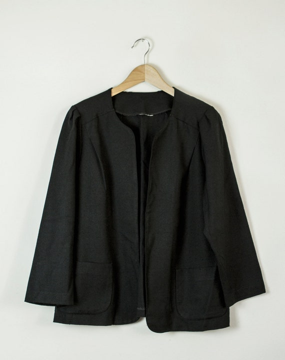 2618c1edf8 Borrowed from BF Vintage black linen jacket