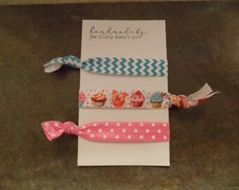 Cupcake hair tie set/favors/gifts/handmade/customize