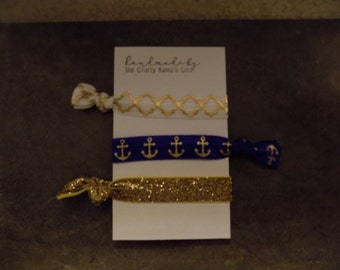 Navy Gold White hair tie set/favors/gifts/handmade/customize