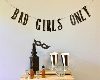 bad girls banner bachelorette party decorations birthday party decorations bridal shower black glitter gold
