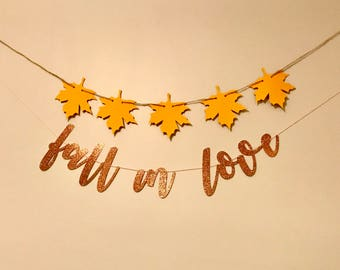 Fall in love Banner | fall bridal shower decor | fall wedding decorations | Autumn Orange Brown Leaves