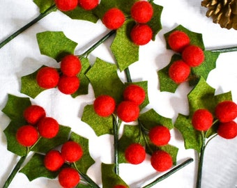 10-Pack of Holly Sprigs   Handcrafted Felt Greenery   Christmas Decor