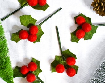 5-Pack of Holly Sprigs   Handcrafted Felt Greenery   Christmas Decor