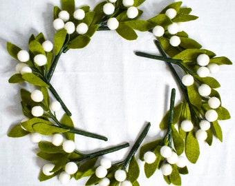 10-pack of Mistletoe Sprigs   Handcrafted Felt Greenery   Christmas Accessories