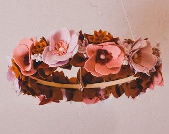 Felt Floral Chandelier Mobile   Handcrafted Nursery Decor   One of a Kind Mobile