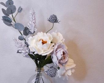 Felt Peony Flower   DIY Floral Arrangement   Handcrafted Felt Flowers   Year-Round Home Decor