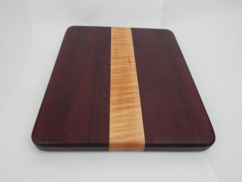 No slip bottom Great wedding gift Handcrafted Wood Cutting Board Chefscooks will love this! Cherry and Walnut wood Maple Edge Grain