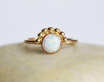 Gold Opal Ring, Silver Opal Ring, Dainty Opal RIng, Opal Solitaire, October Birthstone