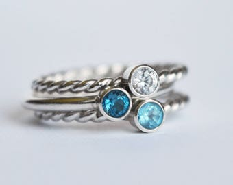 Blue Topaz Stacking Rings, Blue Topaz Ring, Birthstone Ring, Dainty Solitaire Rings