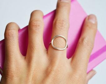 Open Circle Ring, Karma Ring, Sterling Silver, Gold Open Circle Ring, Minimalist Circle Ring