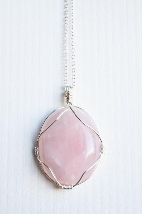 Rose Quartz Necklace Wire Wrapped Rose Quartz Cabochon Pink