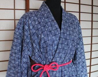 Yukata, Hand Stitched Vintage Indigo Blue Japanese Cotton Kimono Robe w/ Belt, Women's Robe, or Wear Open as Duster Coat, Free Air Shipping