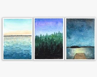 Michigan as the Sun Goes Down Set of 3 Watercolor Prints - Manistee Forest at Night, Michigan Lake at Dusk, Long Lake Under the Stars